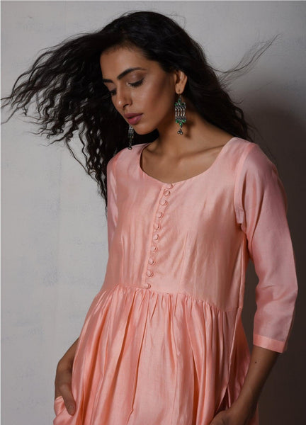 Peach Chanderi Gathered Kurta Dress