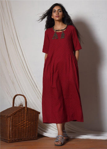 Red Patterned Kurta Dress