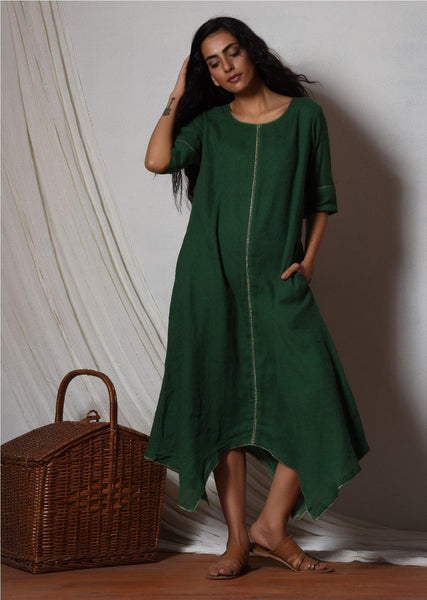 Cocktail Green Flowy Kurta Dress