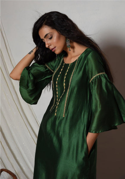 Cocktail Green Jute Kurta Dress