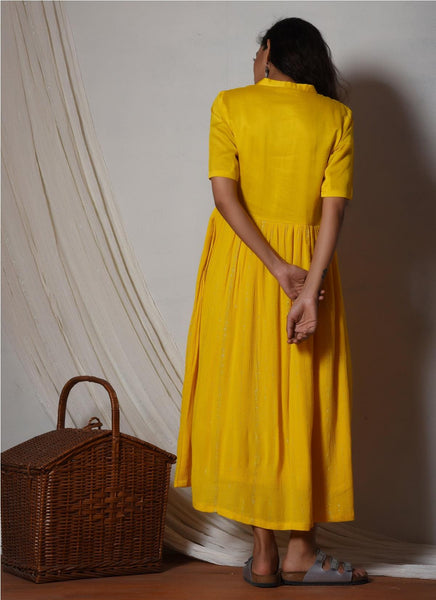 Yellow Crinkled Flare kurta dress