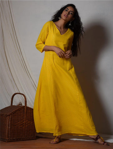 Yellow Silver Highlight Kurta Dress