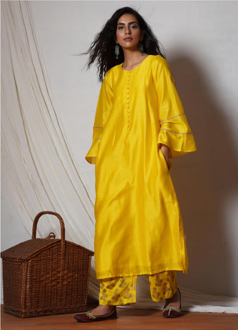 Yellow Bell Sleeve Kurta with Booti Pant