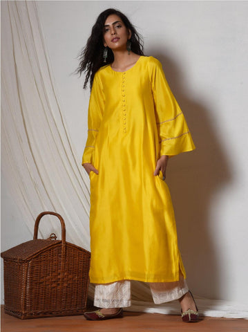 Yellow Bell Sleeve Kurta with Ivory Thread Pant