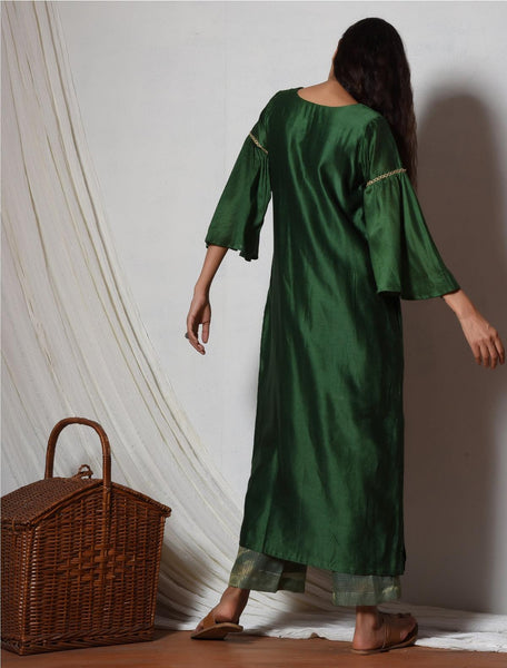 Cocktail Green Jute Kurta with Kota Silk Pant