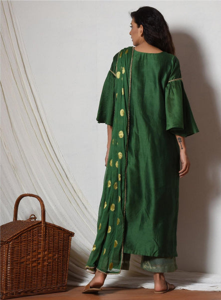 Cocktail Green Jute Kurta, Kota Silk Pant & Dupatta