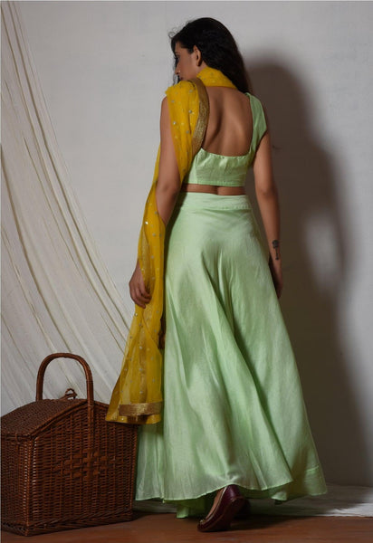 Mint Green Chanderi Yellow Dupatta Lehenga