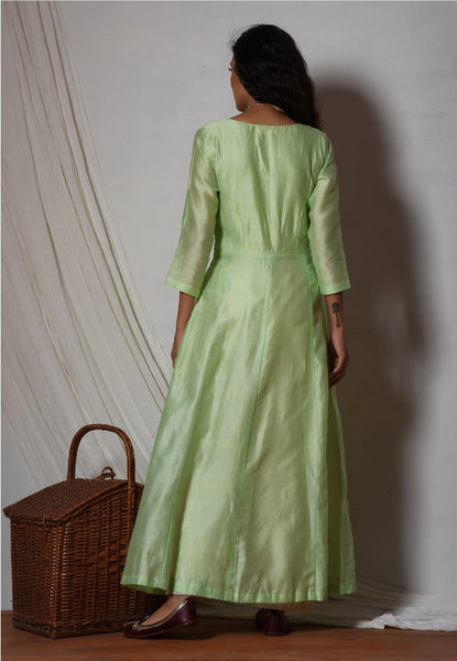 Mint Green Chanderi Jacket Kurta