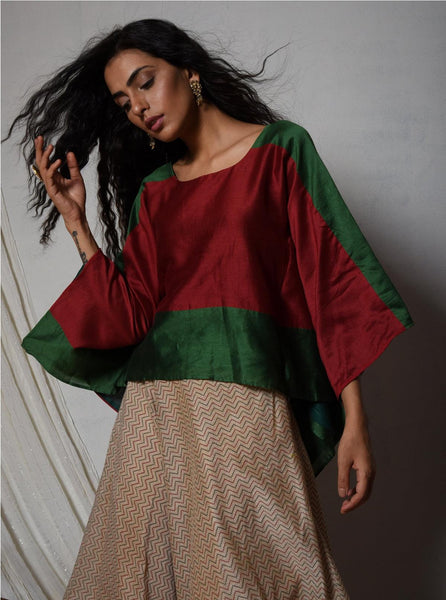 Red Green Chanderi Kaftan Top