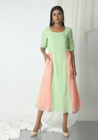 Mint Green Crinkle Peach Sides Dress