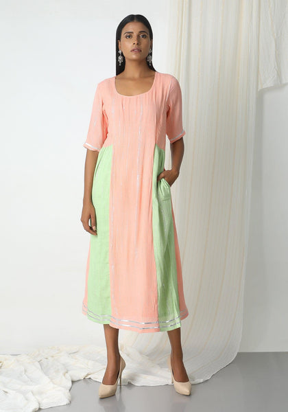 Peach Crinkle Mint Green Sides Dress