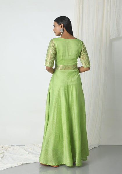 Chartreuse Green Brocade Highlight Dress