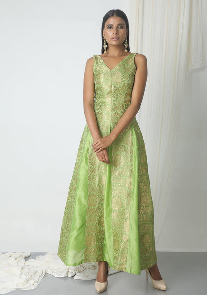 Chartreuse Green Brocade Dress