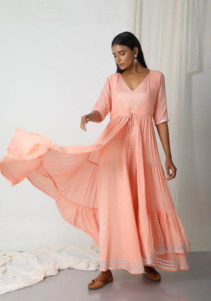 Peach Crinkled Jacket Dress Set