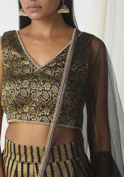 Black Stripe Floral Lehenga Set