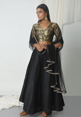 Black Brocade Choli Lehenga Set