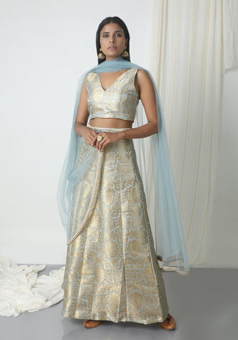 Grey Brocade Lehenga Set