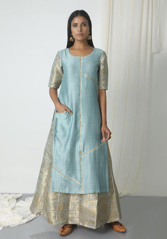 Grey Brocade Chanderi Skirt-Kurta Set