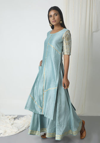 Grey Chanderi Gota Skirt-Kurta Set