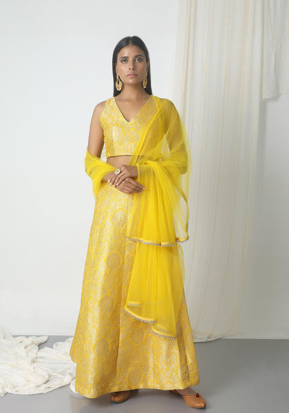 Yellow Brocade Lehenga Set