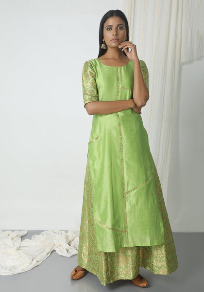 Chartreuse Green Brocade Highlight Kurta