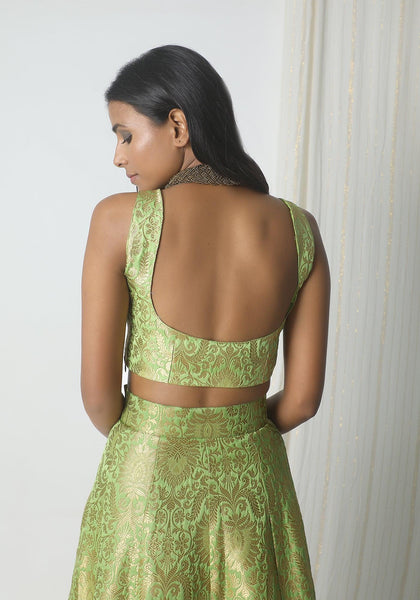 Chartreuse Green Brocade Blouse