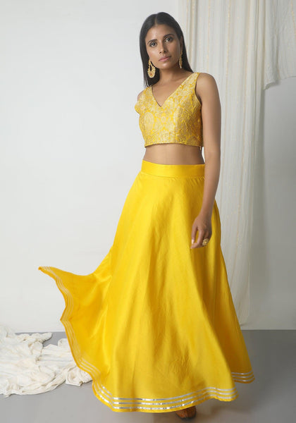 Yellow Chanderi Gota Skirt