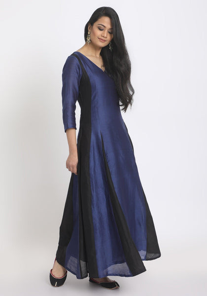 Blue Black Panelled Dress
