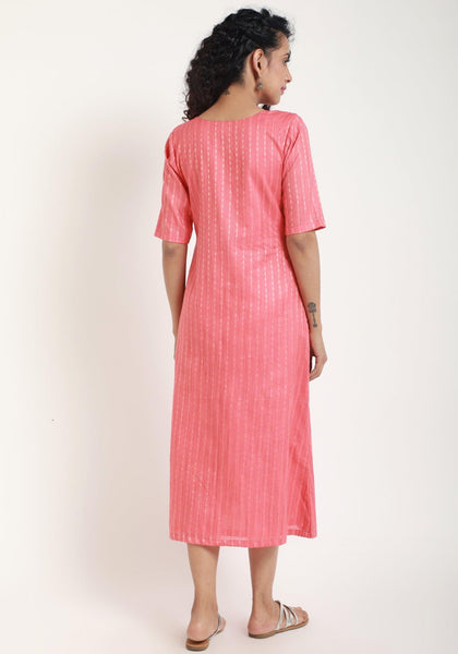 Peach Overlap Kurta Dress