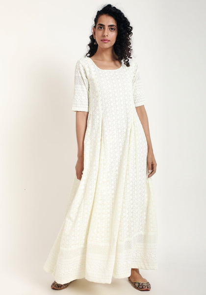 Ivory Chicken Bordered Flare Dress