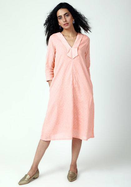 Peach Collared Kurta Dress