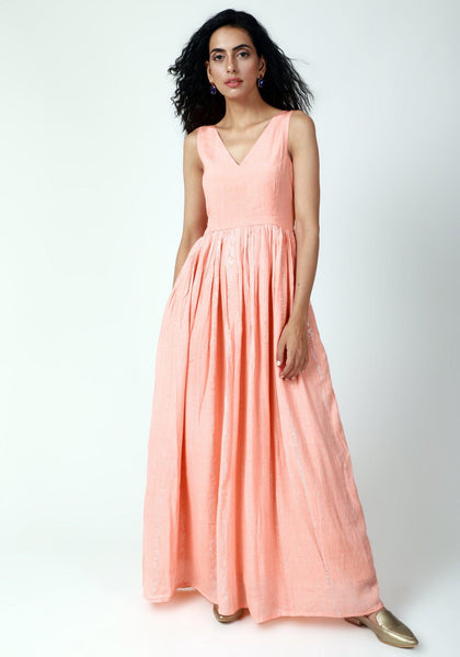 Peach Crinked Gathered Dress