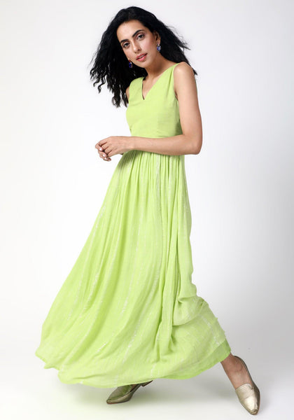 Mint Green Crinked Gathered Dress