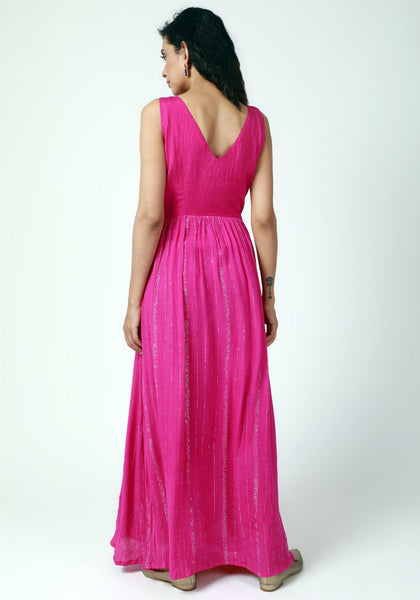 Pink Crinked Gathered Dress