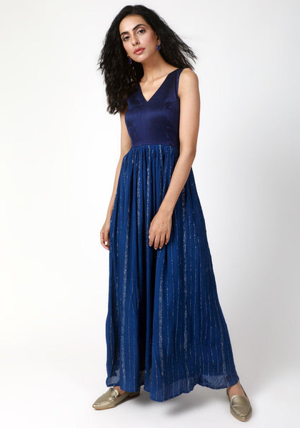 Blue Crinked Gathered Dress