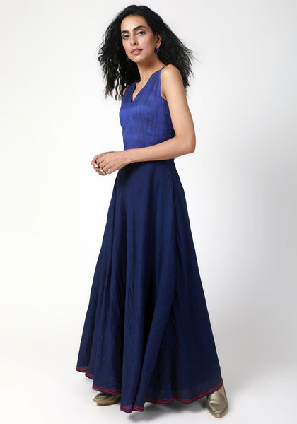 Blue Thread Bordered Dress