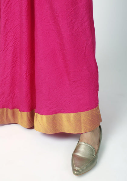 Pink Gold Bordered Dress