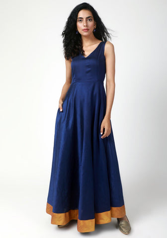 Blue Gold Bordered Dress