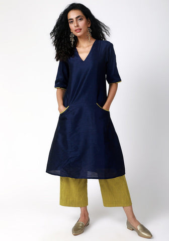Blue Green Silk Kurta-Pant