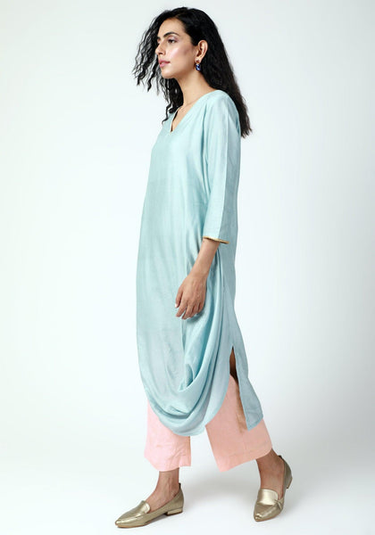 Powder Blue Cowl Kurta-Pant