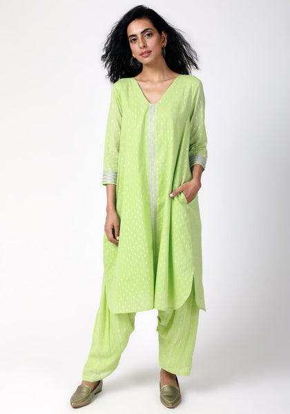 Green Silver Laced Kurta- Ruffled Pant