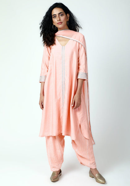Peach Laced Kurta-Ruffled Pant-Dupatta