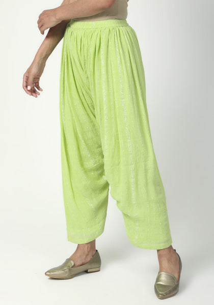 Green Ruffled Pant