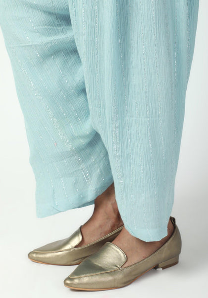 Blue Ruffled Pant