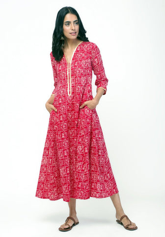 Red Pink Square Gota Dress