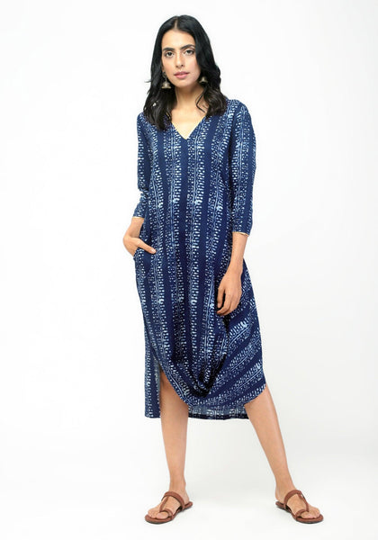 Blue Block Cowl Dress