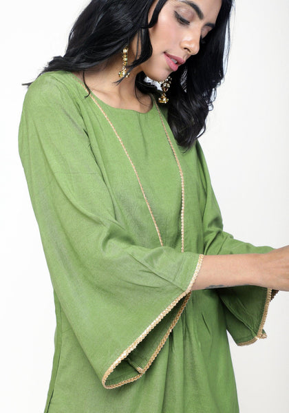 Green Peach Kurta Set