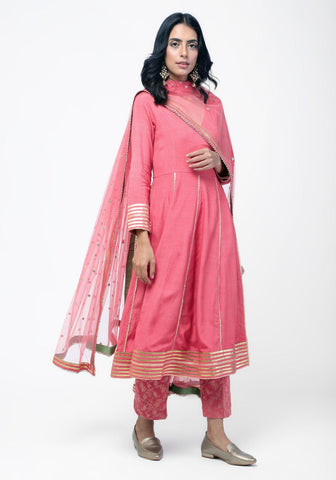 Peach Gota Angrakha Chanderi Pant Set