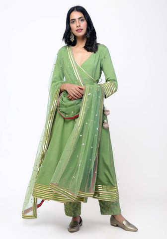 Green Gota Angrakha Chanderi Pant Set