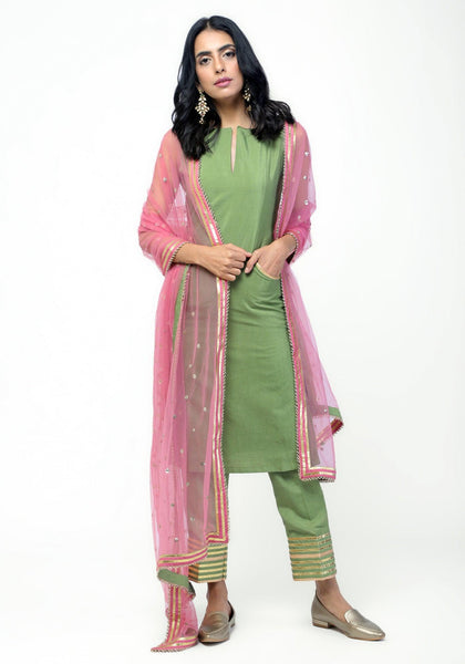 Green Gota Straight Kurta Set